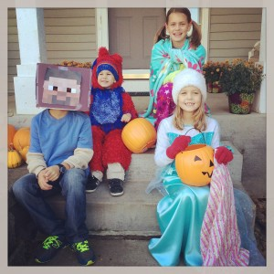 Here comes the red lion, pajama ninja, Elsa, and Steve.